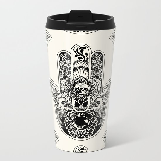 Hamsa Hand French Bulldog Metal Travel Mug