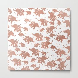 Elegant faux rose gold white polka dots cute elephants Metal Print