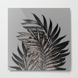 Gray Black Palm Leaves with Rose Gold Glitter #1 #tropical #decor #art #society6 Metal Print