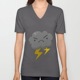 Angry Cloud With Lightning Thunderstorm Weather Unisex V-Neck