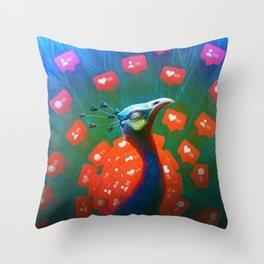 Social Media Peacock Throw Pillow