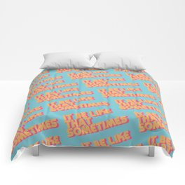 """It be like that sometimes"" Retro Blue Comforters"