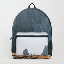 Dolomites mountain range in italy with hiker sunset - Landscape Photography Backpack