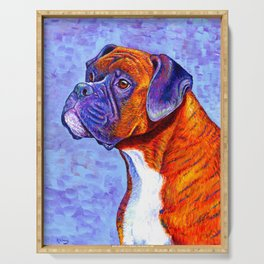 Colorful Brindle Boxer Dog Serving Tray