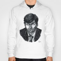 david tennant Hoodies featuring David Tennant as Broadchurch's Alec Hardy (or Gracepoint's Emmett Carver) (Graphite) Portrait  by ieIndigoEast