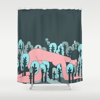 forrest Shower Curtains featuring forrest by Regina Rivas Bigordá