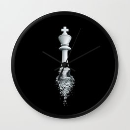 Farewell to the Pale King / 3D render of chess king breaking apart Wall Clock