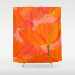 Beautiful Poppies Coral Color Background #decor #society6 #buyart Shower Curtain