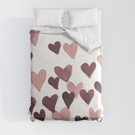 Valentine's Day Watercolor Hearts - dark pink Comforters