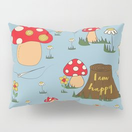 I am Happy - Fairy Magical Mushroom Blue Edit Pillow Sham