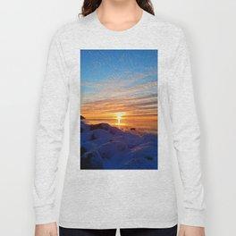 Sun sets on frozen land Long Sleeve T-shirt