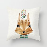 squirrel Throw Pillows featuring squirrel by Manoou
