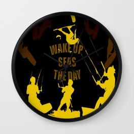 Wake Up Seas The Day Kiteboarder Brown and Yellow Wall Clock