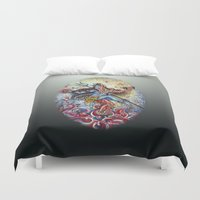 shiva Duvet Covers featuring Shiva Shakti by Harsh Malik