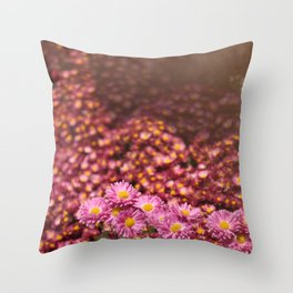 Colorful Pink Flowers Throw Pillow