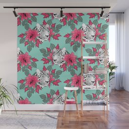 Stylish leopard and cactus flower pattern Wall Mural