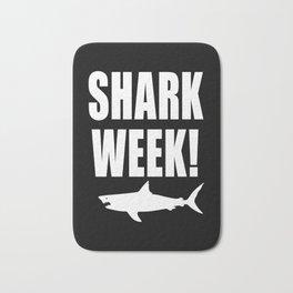 Shark Week, white text on black Bath Mat
