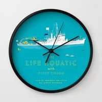 life aquatic Wall Clocks featuring The Life Aquatic with Steve Zissou by steeeeee