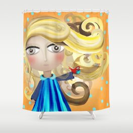 Blonde Hair Doll and Bird Friend Shower Curtain 2017 Shower Curtain