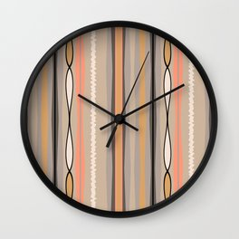 Peachy Taupe Line Pattern Wall Clock