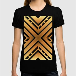 Abstract Golden Colored Industrial X Design T-shirt