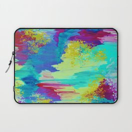 SUGARY GOODNESS - Lovely Cotton Candy Sweet Dreams Colorful Rainbow Abstract Chevron Ikat Painting Laptop Sleeve