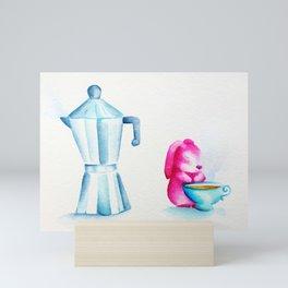 Bunny Rabbit loves Tea and Coffee Mini Art Print