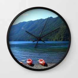 Lake Crescent With Beached Canoes Wall Clock