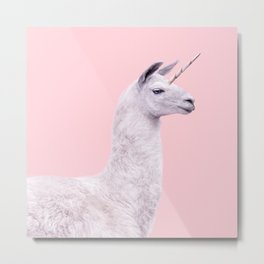 UNICORN LAMA Metal Print