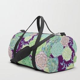 Colorful Succulents (purple bg) Duffle Bag