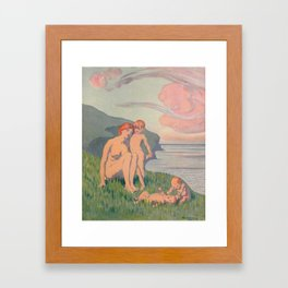"""The merriment of the two babes that crawl over the grass in the sun"" Framed Art Print"