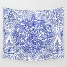 Happy Place Doodle in Cornflower Blue, White & Grey Wall Tapestry