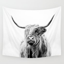 portrait of a highland cow (horizontal) Wall Tapestry