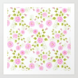 Pink flowers on a white background Art Print