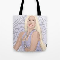 versace Tote Bags featuring Versace Queen by AdamAether