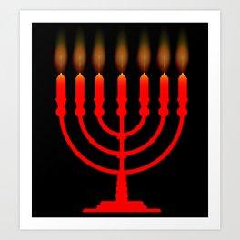 Menorh With Seven Candles Art Print