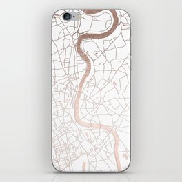 White on Rosegold London Street Map iPhone Skin