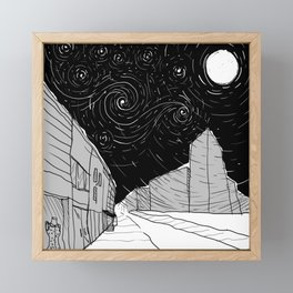Night Sky in Middling City Framed Mini Art Print