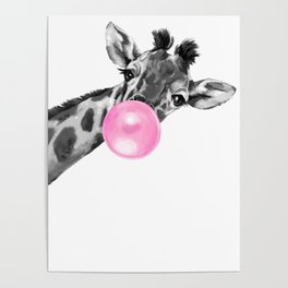 Bubble Gum Black and White Sneaky Giraffee Poster
