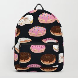 Donuts pattern pink and chocolate in a dark background Backpack