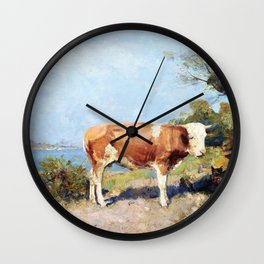 Landscape with a cow and a herdsman resting - Julius Garibaldi Melchers Wall Clock