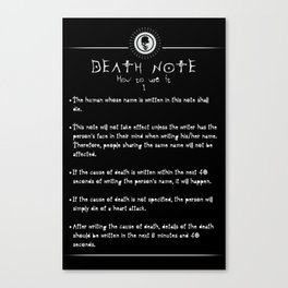 Death Note: Rules of Use Canvas Print