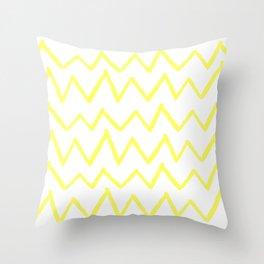 Hand-Drawn Zig Zag (Light Yellow & White Pattern) Throw Pillow