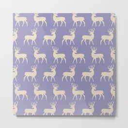 Mid Century Modern Deer Pattern Lavender and Tan Metal Print