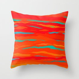Ripped Turquoise Sunset Sky Throw Pillow