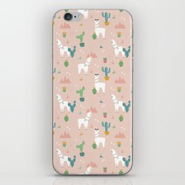 Summer Llamas on Pink iPhone Skin