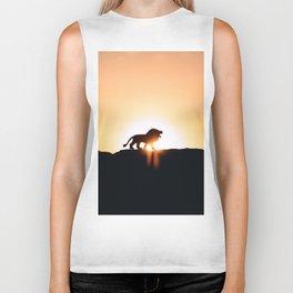 Lion Sunset Silhouette (Color) Biker Tank