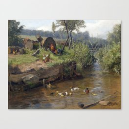 Carl Jutz Duck Family at the Weir Canvas Print