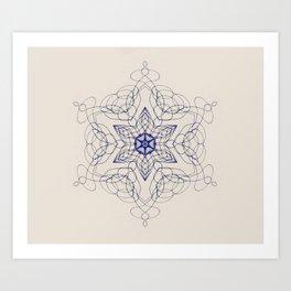 Ornate Star with Arabesque Line Art Print