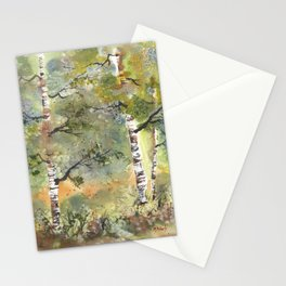 Spring Birch Forest, an original watercolor painting Stationery Cards